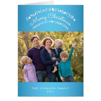 Personalisierte blaue frohe Weihnacht-Gruß-Karten Karte