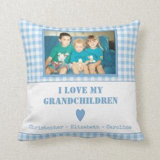 Personalisierte blaue Gingham Foto-Großeltern Kissen
