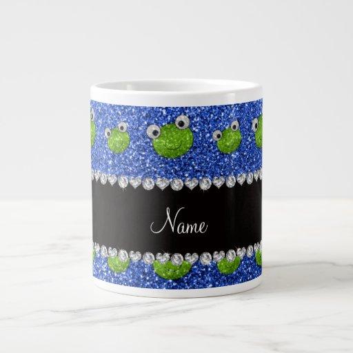 Personalisierte blaue Glitternamensfrösche Jumbo-Tasse