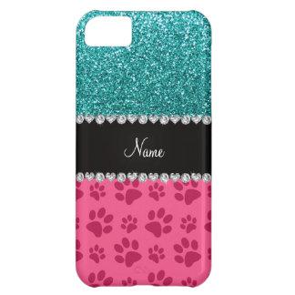 Personalisierte blaue Glitterrosanamenstatzen iPhone 5C Hülle