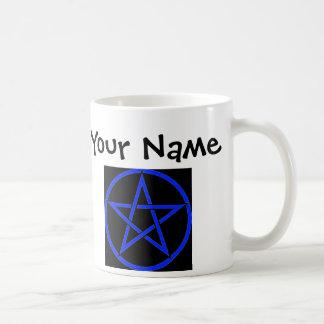 Personalisierte blaue Pentagram-/Pentagramm Wiccan Kaffeetasse