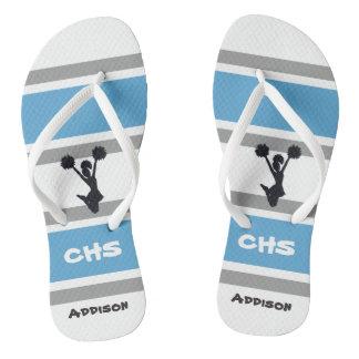 Personalisierte blaue und silberne Cheerleader Flip Flops