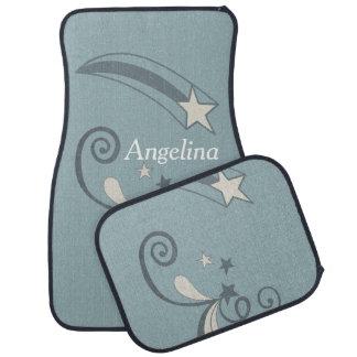 Personalisierte blaue weiße Schießen-Sterne blühen Autofußmatte