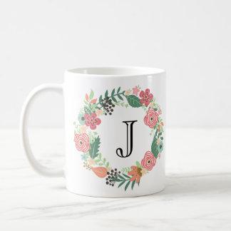 Personalisierte Blumenwreath-Tasse Tasse