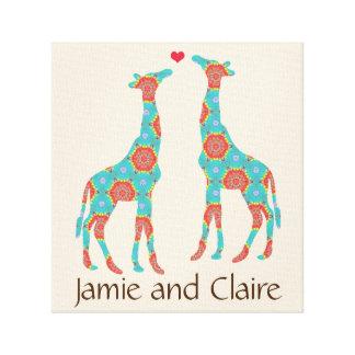 Personalisierte böhmische Giraffen-Liebhaber Leinwanddruck