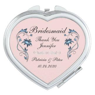 Personalisierte Brautjungfer mit Blumen Schminkspiegel