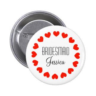 Personalisierte Brautjungfernknöpfe mit roten Runder Button 5,1 Cm