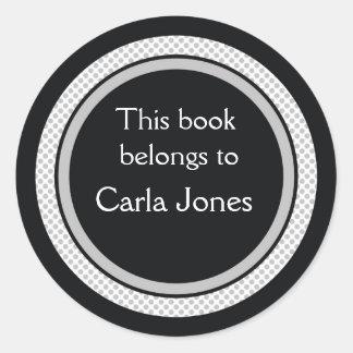 Personalisierte Buchzeichen: Schwarze und graue Runder Aufkleber