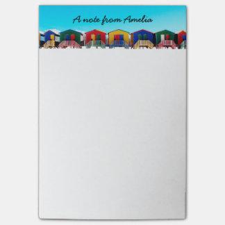 Personalisierte bunte Strand-Haus-Hütten-Reihe Post-it Klebezettel