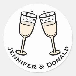 Personalisierte Champagne-schwarze u. weiße Runder Aufkleber