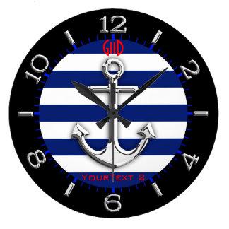 Personalisierte Chrom-Anker-Marine-blaue Wanduhr