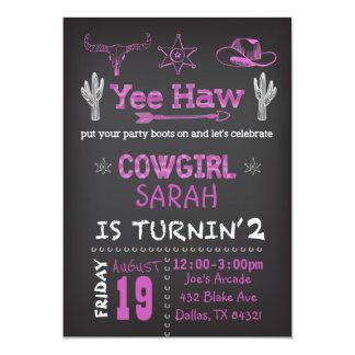 Personalisierte Cowgirl-Geburtstags-Party Karte