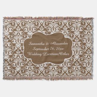 Personalisierte Damast-Hochzeit/kundenspezifischer Decke