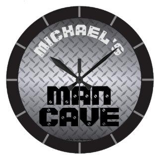 Personalisierte Diamondplate Mann-Höhle Große Wanduhr