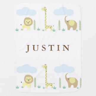 Personalisierte Dschungel-Tier-Baby-Decke Puckdecke