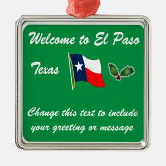 Personalisierte El Paso TX Weihnachtsverzierung Silbernes Ornament