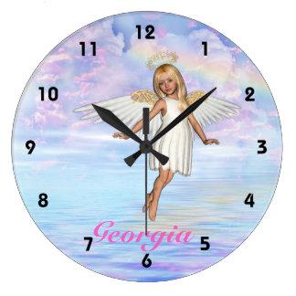 Personalisierte Engels-Himmel-Wand-Uhr - Große Wanduhr