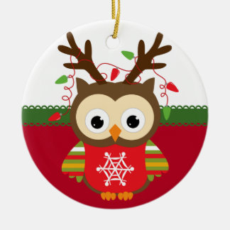 Personalisierte Eulen-Weihnachtsverzierung Keramik Ornament