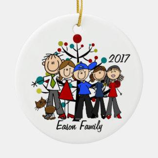 Personalisierte Familie von fünf mit Brown-Katze Keramik Ornament