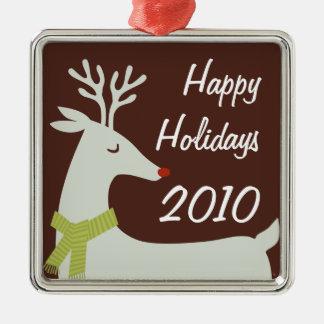 Personalisierte Feiertags-Metallverzierung Quadratisches Silberfarbenes Ornament
