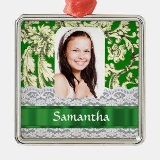 Personalisierte Fotoschablone der grünen Spitzes Quadratisches Silberfarbenes Ornament