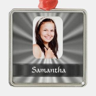 Personalisierte Fotoschablone des silbernen Graus Quadratisches Silberfarbenes Ornament