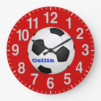 Personalisierte Fußball-Uhren mit Anweisungen Große Wanduhr