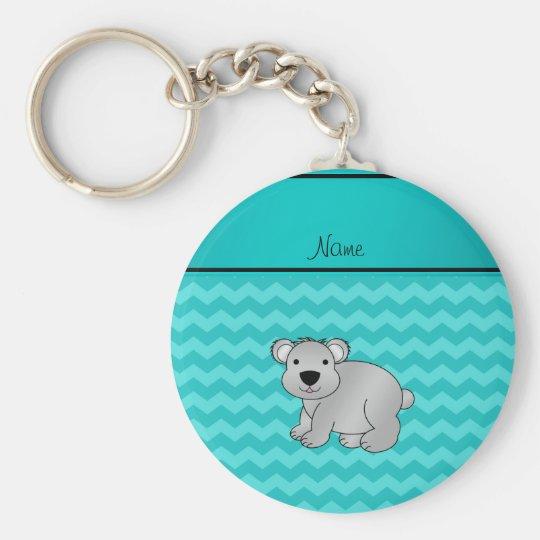 Personalisierte graue Koalatürkisnamenssparren Standard Runder Schlüsselanhänger