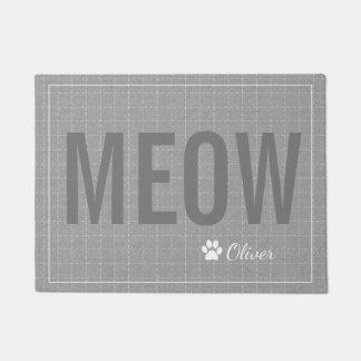 Personalisierte graue Meow-Katzen-Haustier-Matte Türmatte