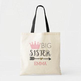 Personalisierte große Schwester Budget Stoffbeutel