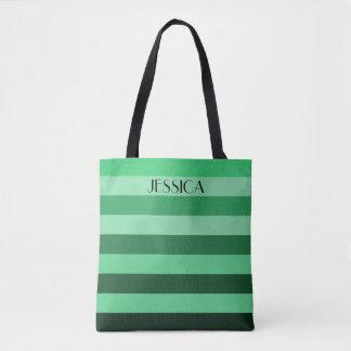 Personalisierte grüne Farbblock-Namensstreifen Tasche