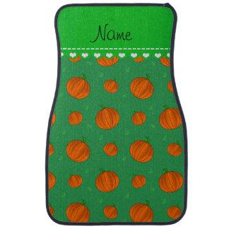 Personalisierte grüne orange Namenskürbise Automatte