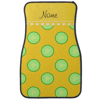 Personalisierte Gurkennamensscheibe des gelben Autofußmatte