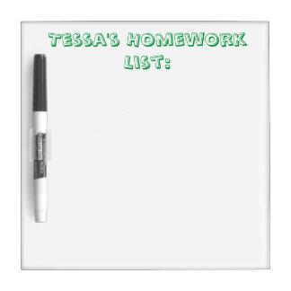 Personalisierte Hausaufgaben-Listen-trockenes Trockenlöschtafel