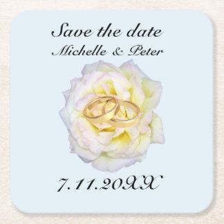 """Personalisierte Hochzeit """"Save the Date """" Kartonuntersetzer Quadrat"""