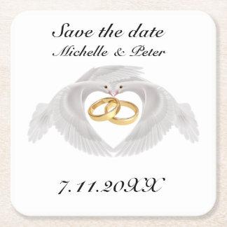 """Personalisierte Hochzeit """"Save the Date """" Rechteckiger Pappuntersetzer"""