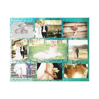 Personalisierte Hochzeits-Foto-Collagen-Wand-Kunst Leinwanddruck