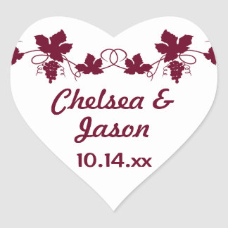 Personalisierte Hochzeits-Weinstock-Wein-Aufkleber Herz Sticker