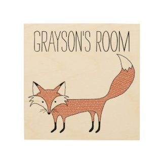 Personalisierte illustrierte Fox-Holz-Leinwand Holzdruck