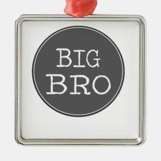 Personalisierte Jungen-großer Bruder-Geschenke Quadratisches Silberfarbenes Ornament