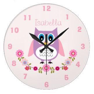 Personalisierte Kinderzimmer-Eulen-Wand-Uhr Große Wanduhr