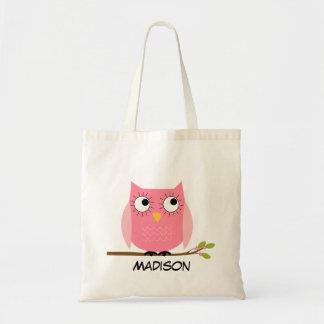 Personalisierte Kindrosa Eulen-Taschen-Tasche Tragetasche