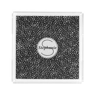 Personalisierte Kreide-Schwarzweiss-Linie Muster Acryl Tablett