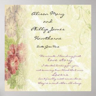 Personalisierte Liebe-mit Blumengeschichte Poster