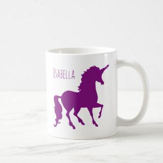 Personalisierte lila Unicorn-Silhouette schön Kaffeetasse