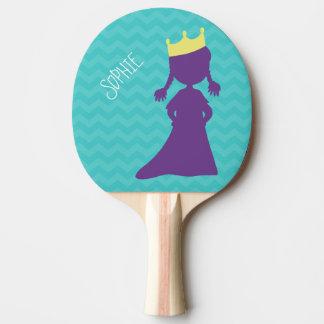 Personalisierte Mädchen-lila Prinzessin Silhouette Tischtennis Schläger
