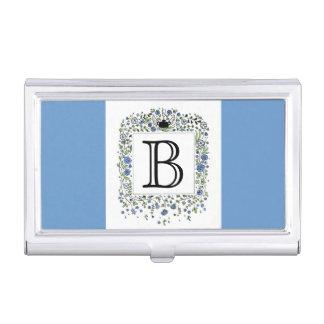 Personalisierte Monogramm-Initialen-blaues Visitenkarten-Dose