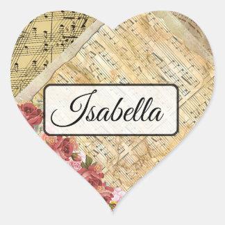 Personalisierte musikalische Herz-Aufkleber