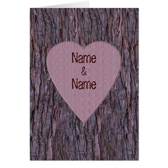 Personalisierte Namen geschnitzt in der Baum-Karte Grußkarte