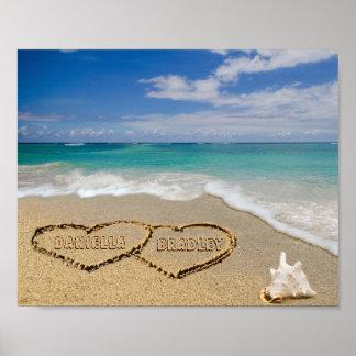 Personalisierte Namen-Herzen im Sand-Bild Poster
